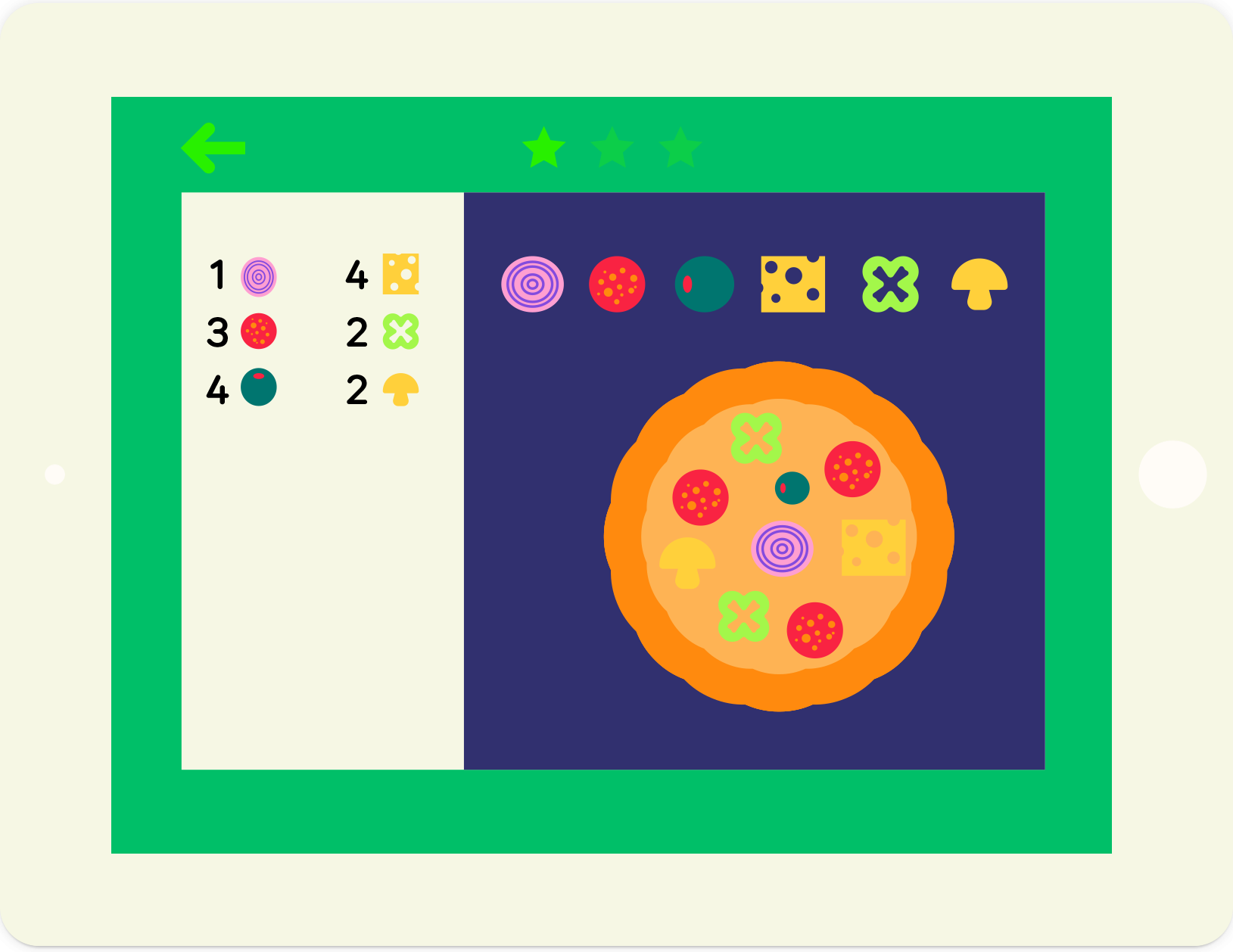 Numbers Pizza: educational maths game, from lernin
